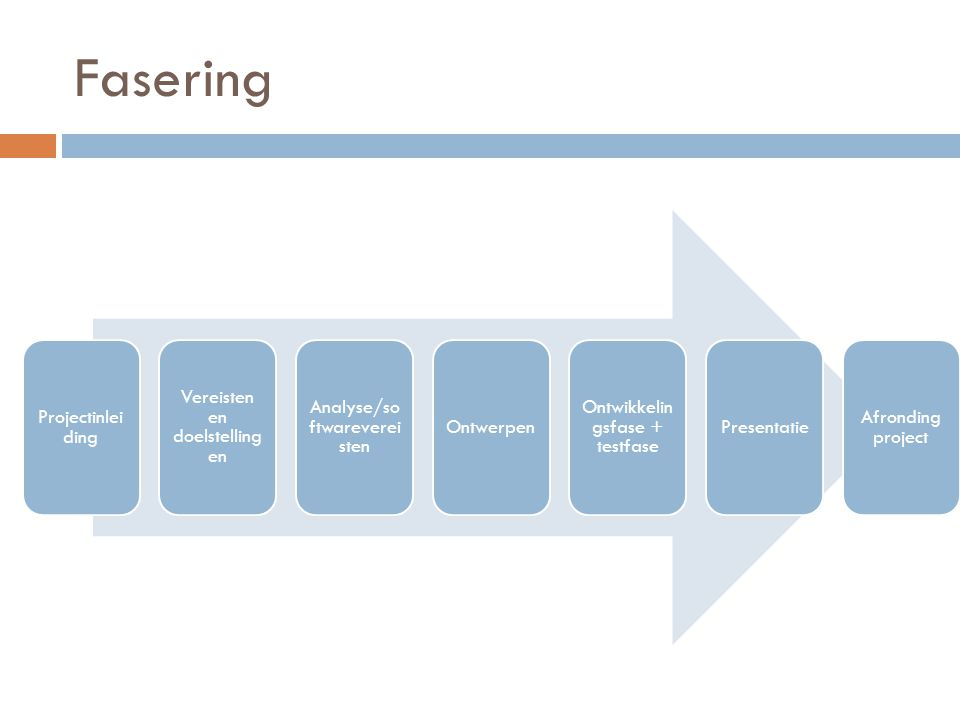Projectinlei ding Vereisten en doelstelling en Analyse/so ftwareverei sten Ontwerpen Ontwikkelin gsfase + testfase Presentatie Afronding project