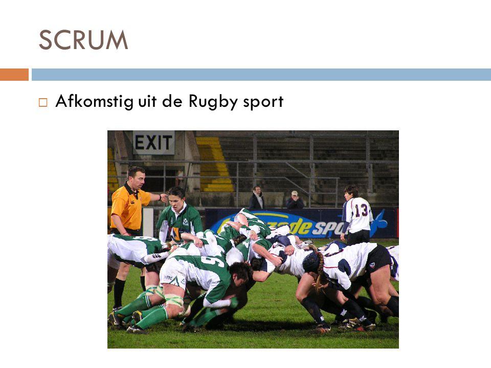 SCRUM  Afkomstig uit de Rugby sport