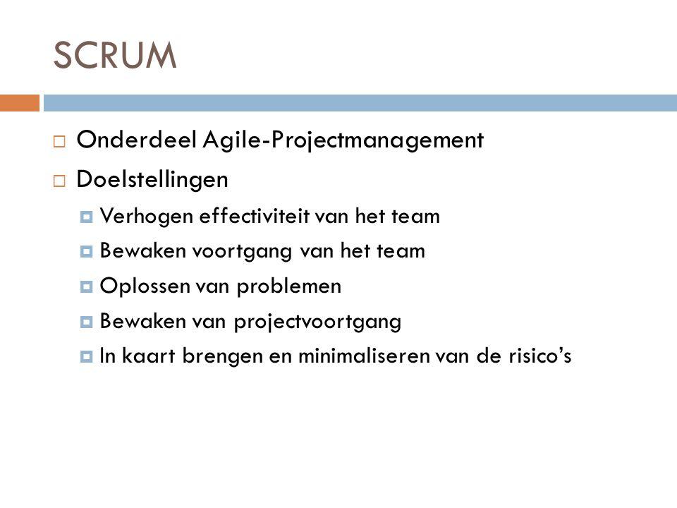 SCRUM  Onderdeel Agile-Projectmanagement  Doelstellingen  Verhogen effectiviteit van het team  Bewaken voortgang van het team  Oplossen van probl