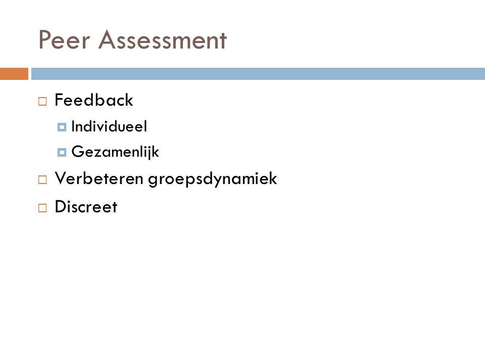 Peer Assessment  Feedback  Individueel  Gezamenlijk  Verbeteren groepsdynamiek  Discreet