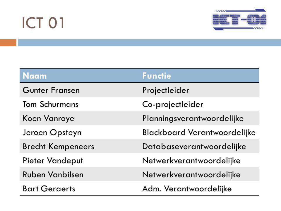 ICT 01 NaamFunctie Gunter FransenProjectleider Tom SchurmansCo-projectleider Koen VanroyePlanningsverantwoordelijke Jeroen OpsteynBlackboard Verantwoo