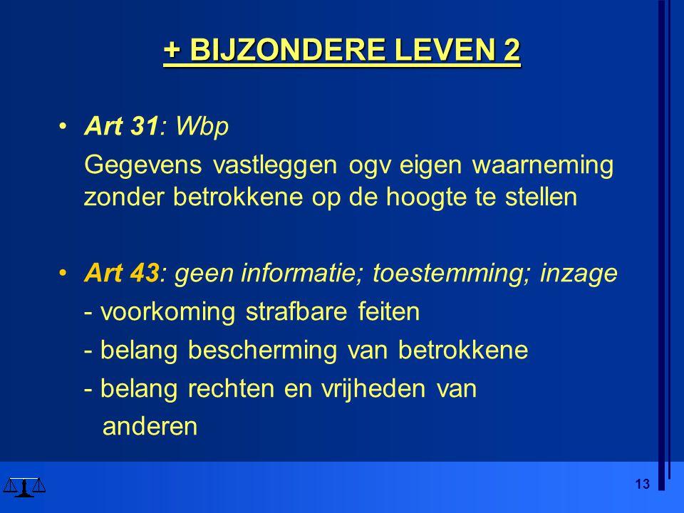 13 + BIJZONDERE LEVEN 2 Art 31: Wbp Gegevens vastleggen ogv eigen waarneming zonder betrokkene op de hoogte te stellen Art 43: geen informatie; toestemming; inzage - voorkoming strafbare feiten - belang bescherming van betrokkene - belang rechten en vrijheden van anderen