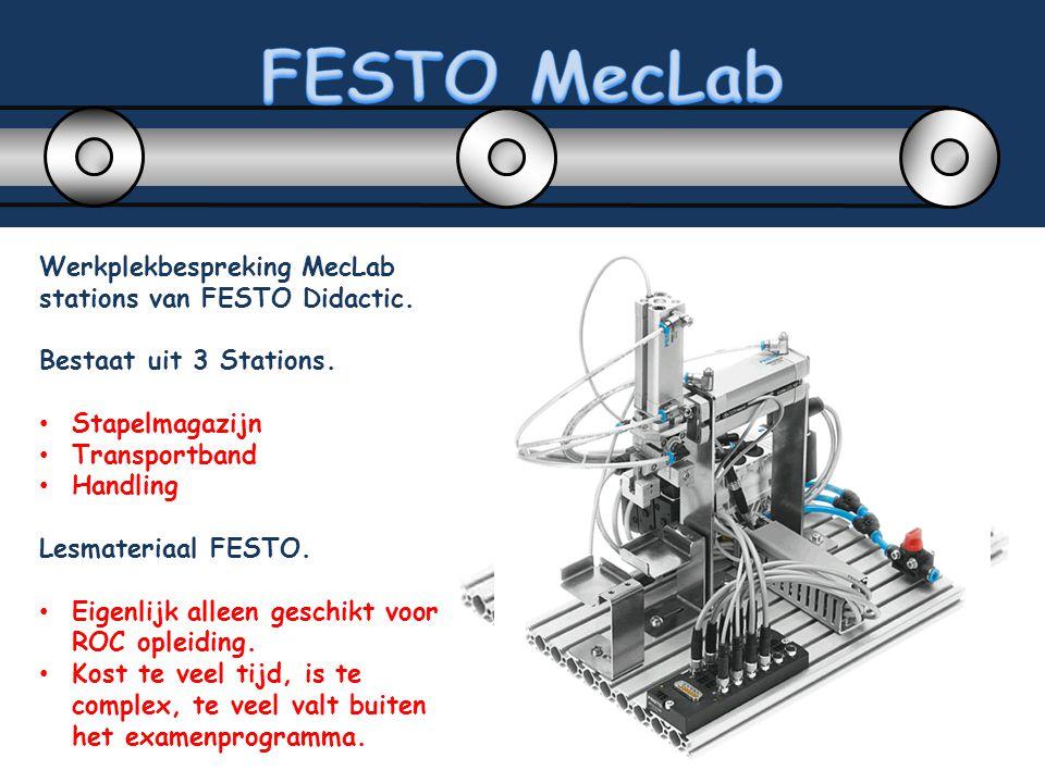 Werkplekbespreking MecLab stations van FESTO Didactic. Bestaat uit 3 Stations. Stapelmagazijn Transportband Handling Lesmateriaal FESTO. Eigenlijk all