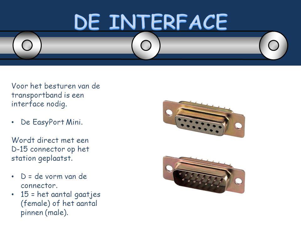 Voor het besturen van de transportband is een interface nodig. De EasyPort Mini. Wordt direct met een D-15 connector op het station geplaatst. D = de