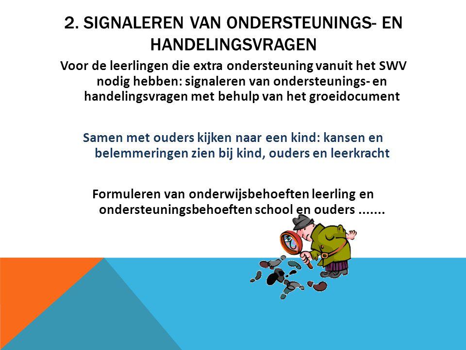 2. SIGNALEREN VAN ONDERSTEUNINGS- EN HANDELINGSVRAGEN Voor de leerlingen die extra ondersteuning vanuit het SWV nodig hebben: signaleren van ondersteu