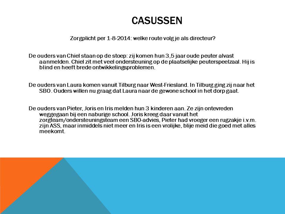 CASUSSEN Zorgplicht per 1-8-2014: welke route volg je als directeur.