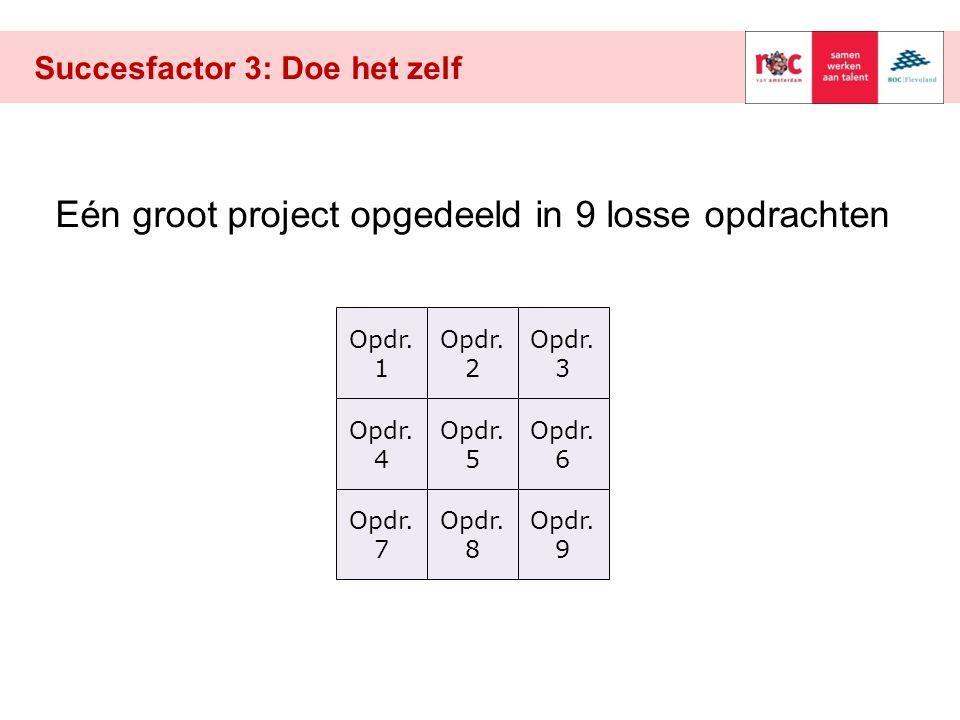 Succesfactor 3: Doe het zelf Opdr. 1 Opdr. 8 Opdr. 5 Opdr. 7 Opdr. 9 Opdr. 6 Opdr. 4 Opdr. 3 Opdr. 2 Eén groot project opgedeeld in 9 losse opdrachten