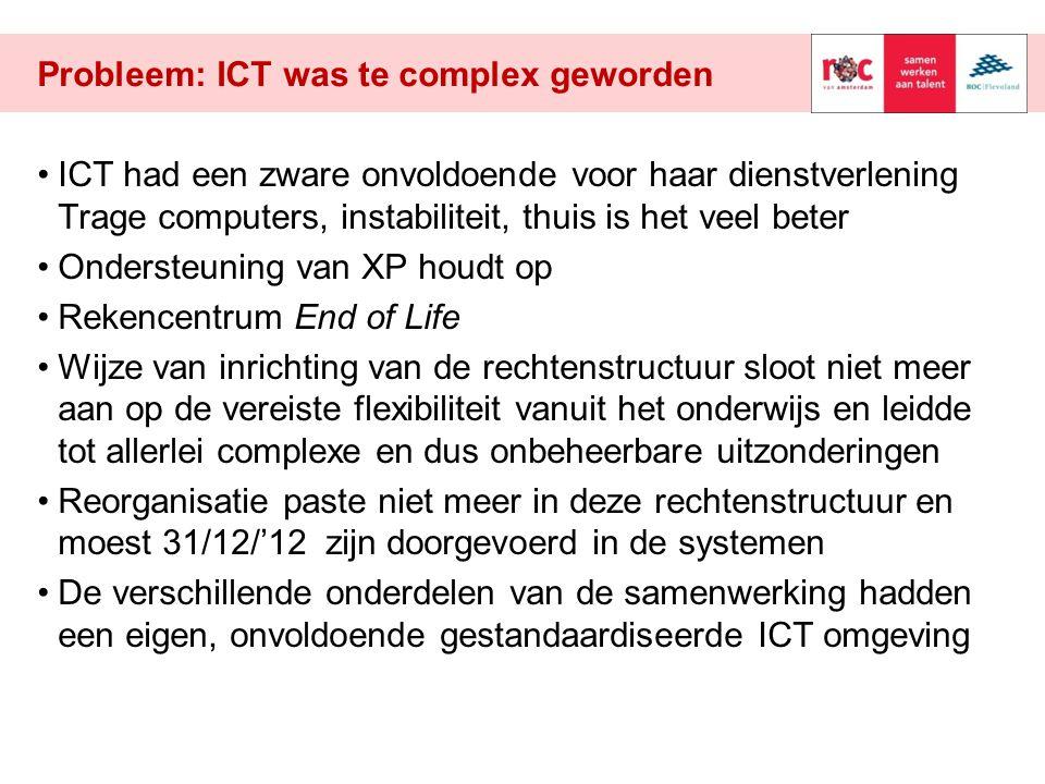 Probleem: ICT was te complex geworden ICT had een zware onvoldoende voor haar dienstverlening Trage computers, instabiliteit, thuis is het veel beter