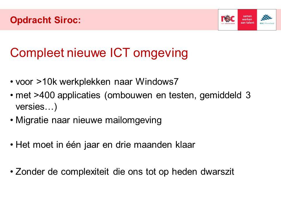 Opdracht Siroc: Compleet nieuwe ICT omgeving voor >10k werkplekken naar Windows7 met >400 applicaties (ombouwen en testen, gemiddeld 3 versies…) Migratie naar nieuwe mailomgeving Het moet in één jaar en drie maanden klaar Zonder de complexiteit die ons tot op heden dwarszit