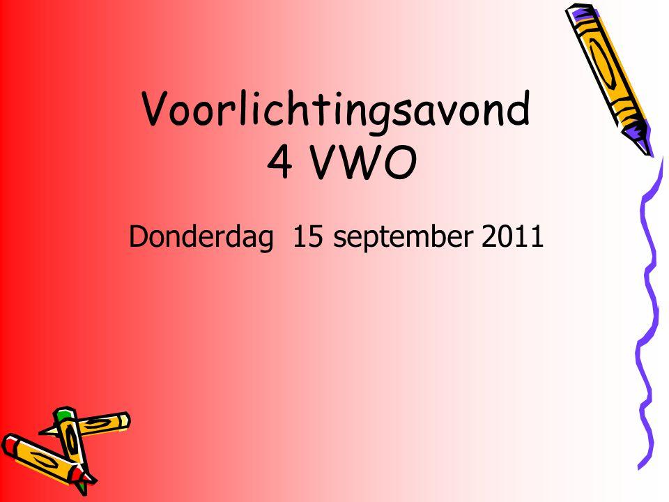 Voorlichtingsavond 4 VWO Donderdag 15 september 2011