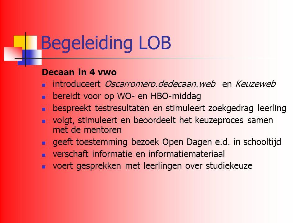 Begeleiding LOB Decaan in 4 vwo introduceert Oscarromero.dedecaan.web en Keuzeweb bereidt voor op WO- en HBO-middag bespreekt testresultaten en stimul