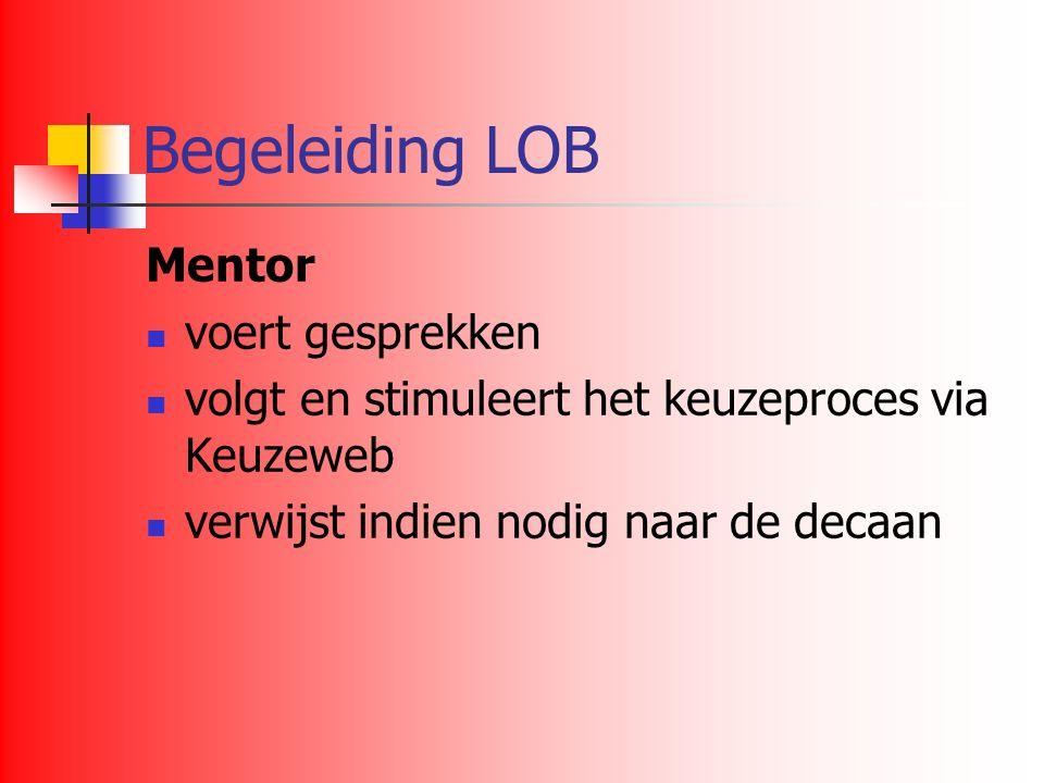 Begeleiding LOB Mentor voert gesprekken volgt en stimuleert het keuzeproces via Keuzeweb verwijst indien nodig naar de decaan