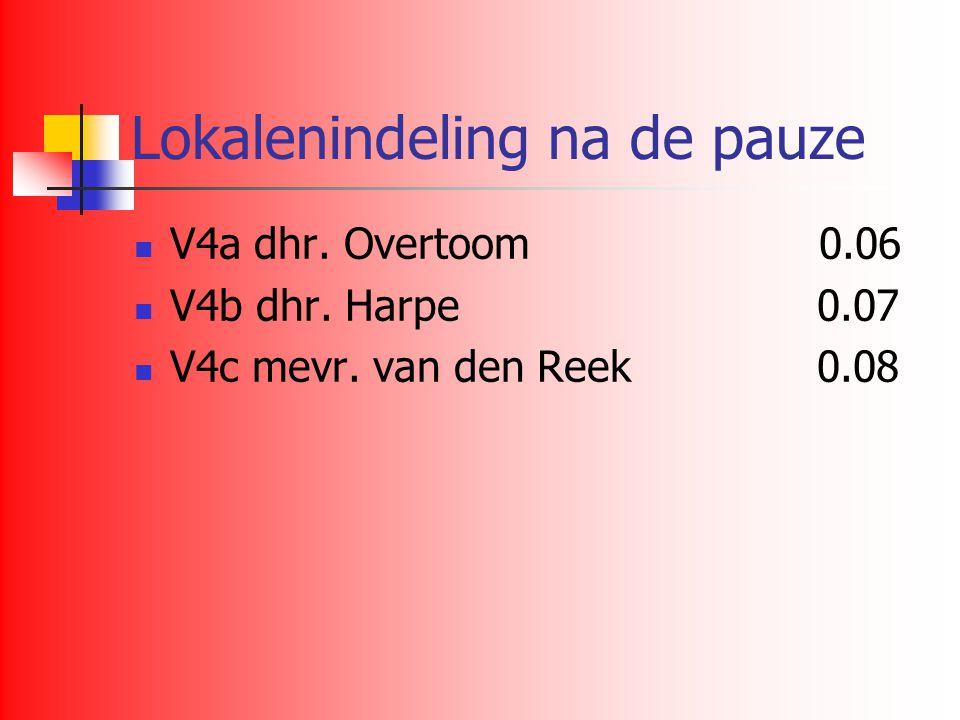 Lokalenindeling na de pauze V4a dhr. Overtoom 0.06 V4b dhr. Harpe 0.07 V4c mevr. van den Reek 0.08