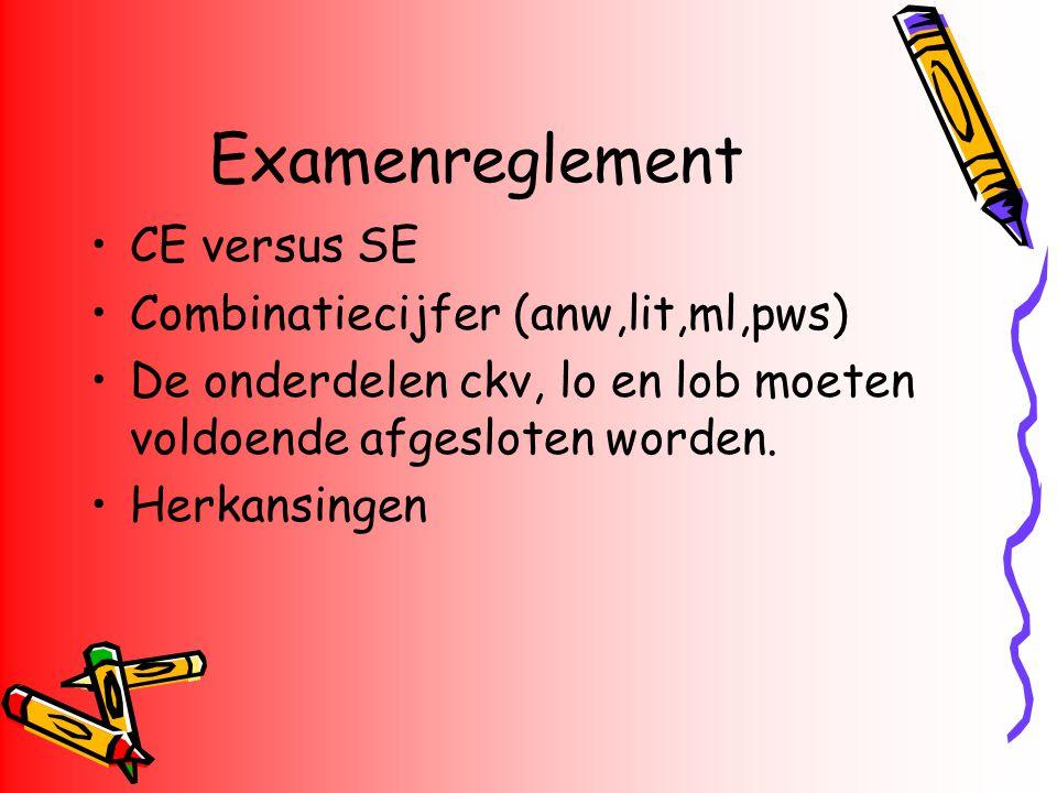 Examenreglement CE versus SE Combinatiecijfer (anw,lit,ml,pws) De onderdelen ckv, lo en lob moeten voldoende afgesloten worden. Herkansingen