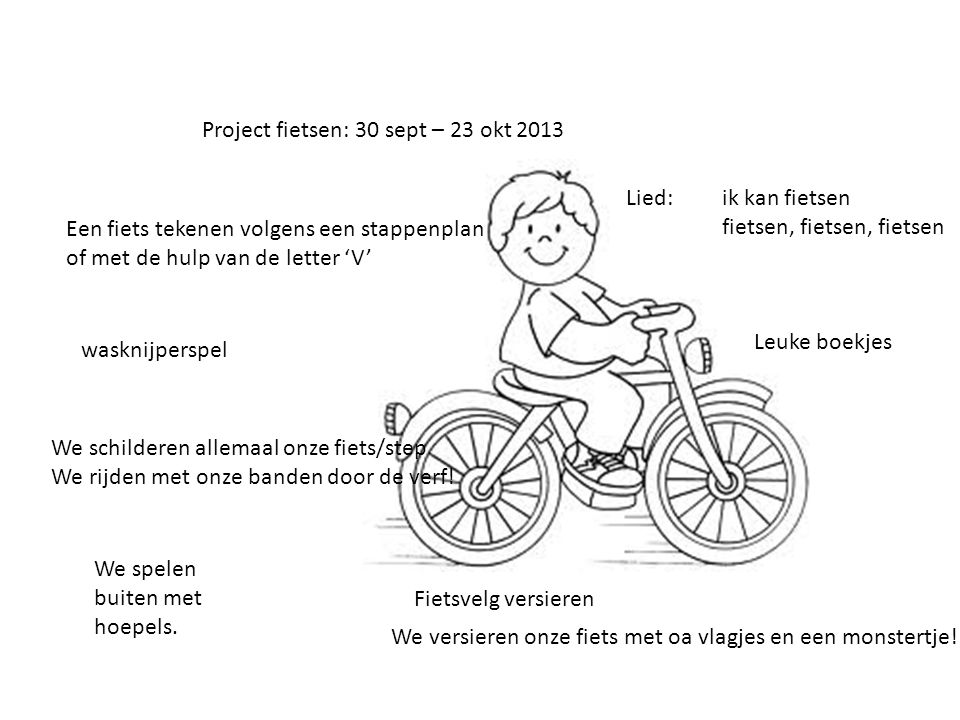 Project fietsen: 30 sept – 23 okt 2013 Een fiets tekenen volgens een stappenplan of met de hulp van de letter 'V' Lied: ik kan fietsen fietsen, fietse