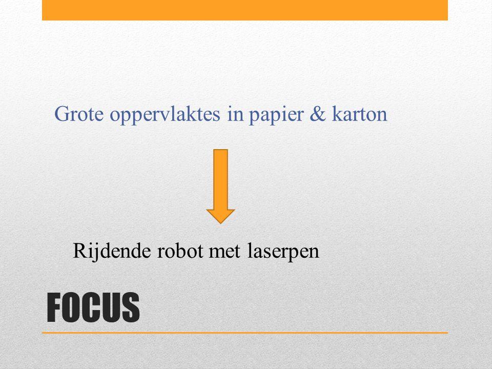 FOCUS Grote oppervlaktes in papier & karton Rijdende robot met laserpen