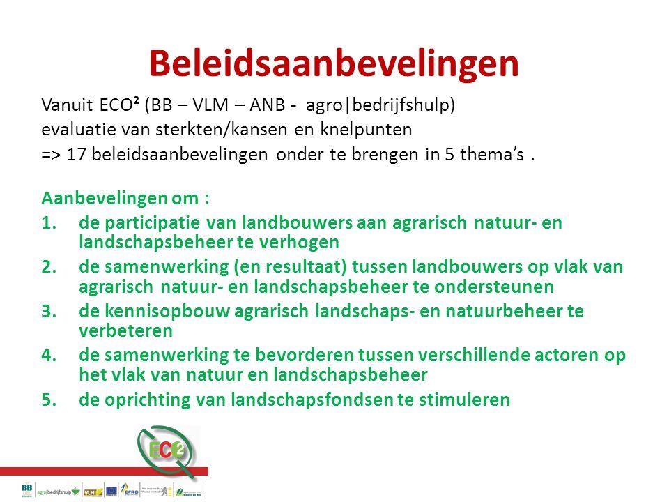 Beleidsaanbevelingen Vanuit ECO² (BB – VLM – ANB - agro|bedrijfshulp) evaluatie van sterkten/kansen en knelpunten => 17 beleidsaanbevelingen onder te brengen in 5 thema's.