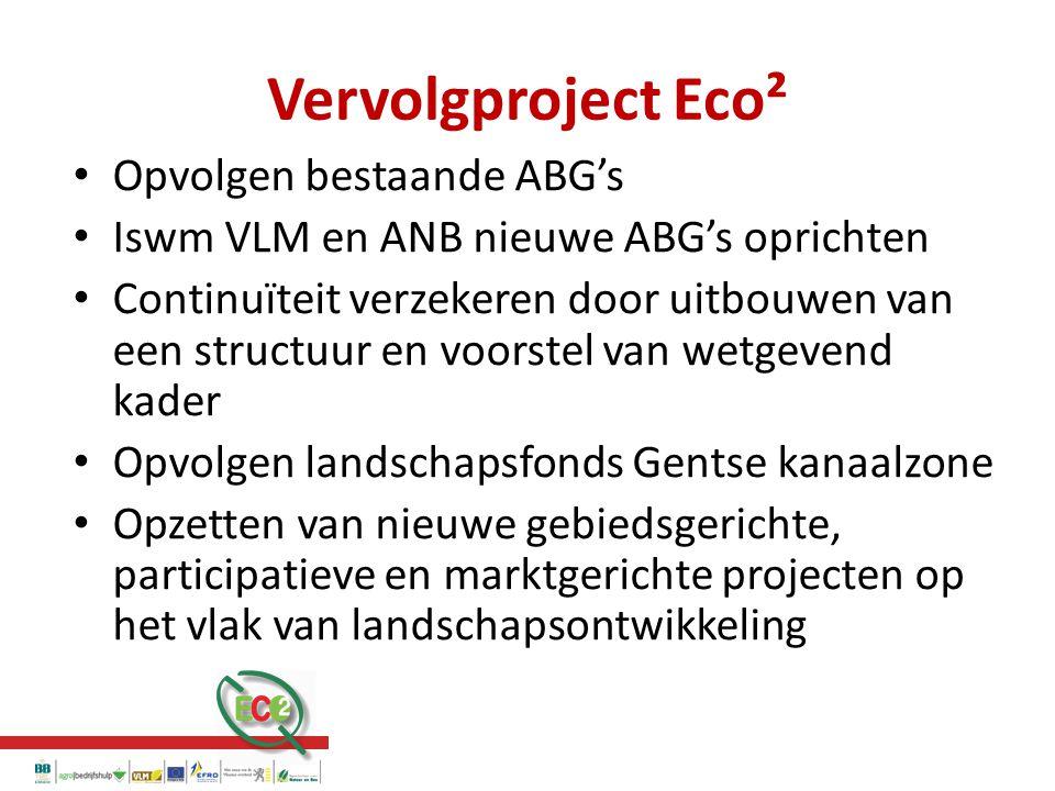 Vervolgproject Eco² Opvolgen bestaande ABG's Iswm VLM en ANB nieuwe ABG's oprichten Continuïteit verzekeren door uitbouwen van een structuur en voorstel van wetgevend kader Opvolgen landschapsfonds Gentse kanaalzone Opzetten van nieuwe gebiedsgerichte, participatieve en marktgerichte projecten op het vlak van landschapsontwikkeling