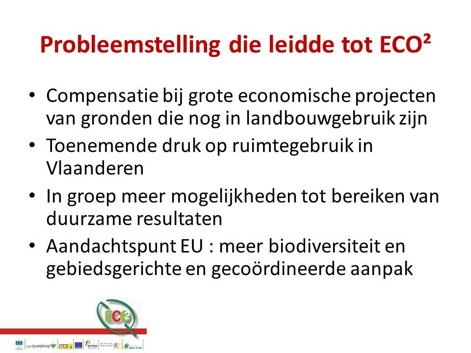 Probleemstelling die leidde tot ECO² Compensatie bij grote economische projecten van gronden die nog in landbouwgebruik zijn Toenemende druk op ruimtegebruik in Vlaanderen In groep meer mogelijkheden tot bereiken van duurzame resultaten Aandachtspunt EU : meer biodiversiteit en gebiedsgerichte en gecoördineerde aanpak