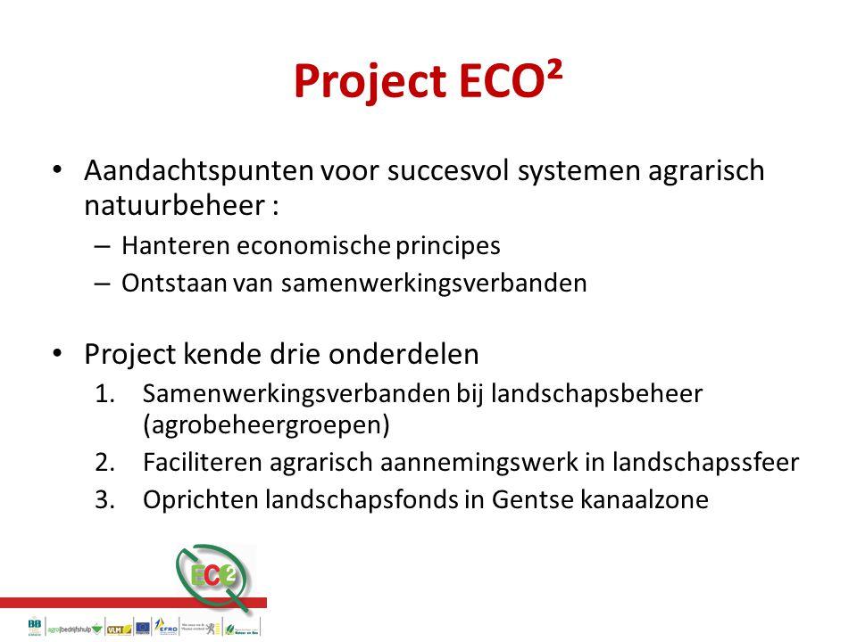 Project ECO² Aandachtspunten voor succesvol systemen agrarisch natuurbeheer : – Hanteren economische principes – Ontstaan van samenwerkingsverbanden Project kende drie onderdelen 1.Samenwerkingsverbanden bij landschapsbeheer (agrobeheergroepen) 2.Faciliteren agrarisch aannemingswerk in landschapssfeer 3.Oprichten landschapsfonds in Gentse kanaalzone