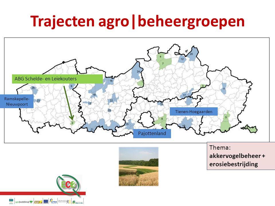 Trajecten agro|beheergroepen Thema: akkervogelbeheer + erosiebestrijding ABG Schelde- en Leiekouters Ramskapelle- Nieuwpoort Pajottenland Tienen-Hoegaarden Trajecten agro|beheergroepen