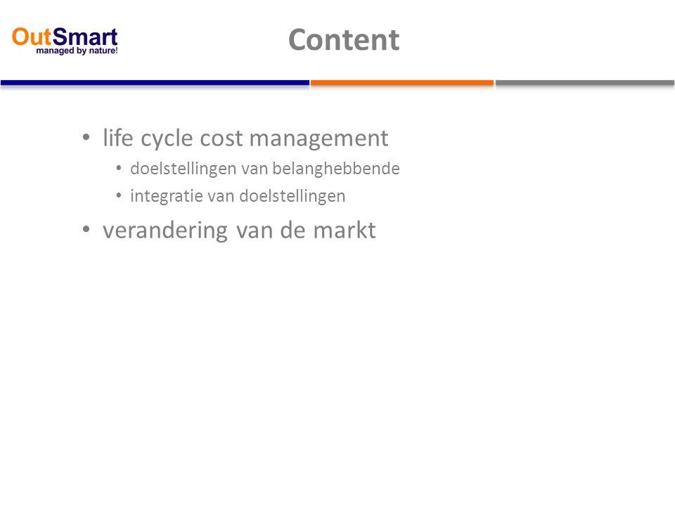 Content life cycle cost management doelstellingen van belanghebbende integratie van doelstellingen verandering van de markt