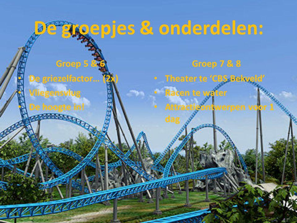 De groepjes & onderdelen: Groep 5 & 6 De griezelfactor… (2x) Vliegensvlug De hoogte in! Groep 7 & 8 Theater te 'CBS Bekveld' Racen te water Attractieo