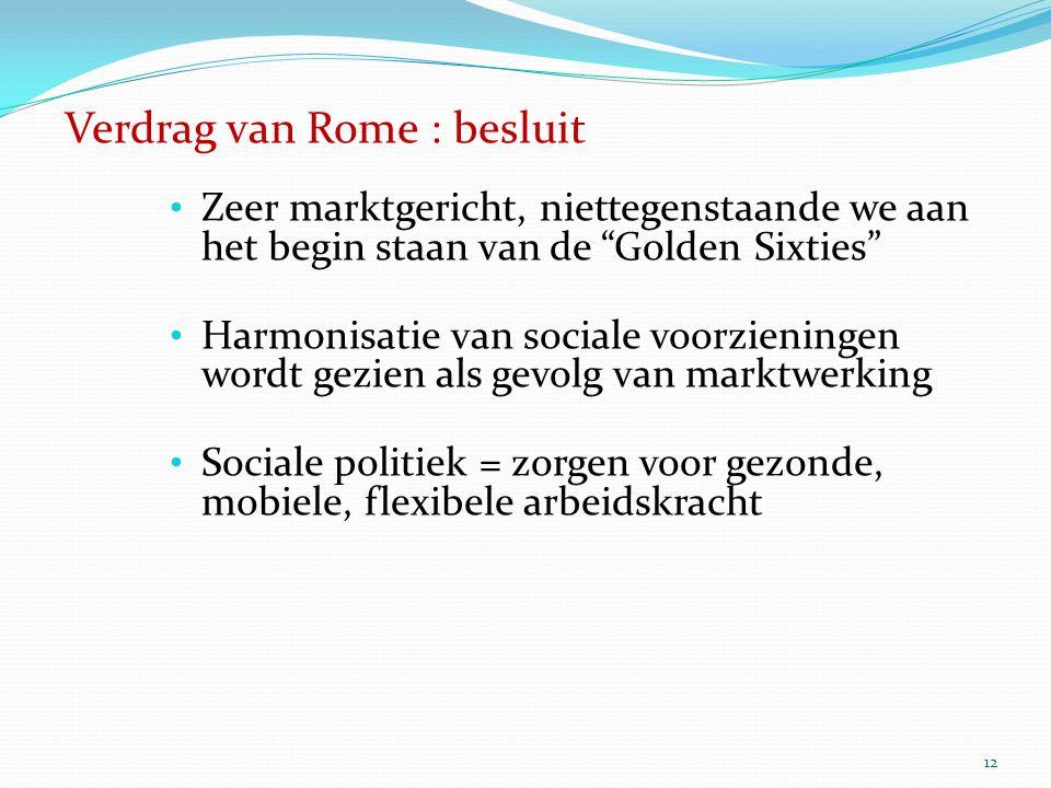 """12 Verdrag van Rome : besluit Zeer marktgericht, niettegenstaande we aan het begin staan van de """"Golden Sixties"""" Harmonisatie van sociale voorzieninge"""