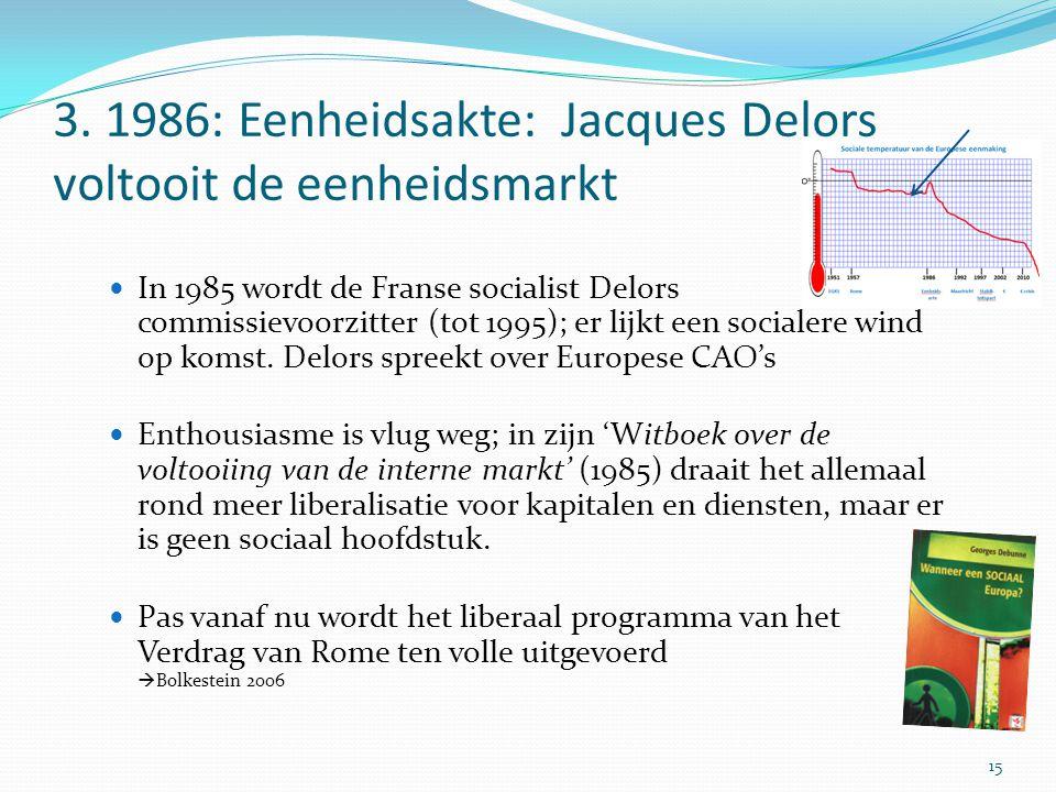 3. 1986: Eenheidsakte: Jacques Delors voltooit de eenheidsmarkt In 1985 wordt de Franse socialist Delors commissievoorzitter (tot 1995); er lijkt een