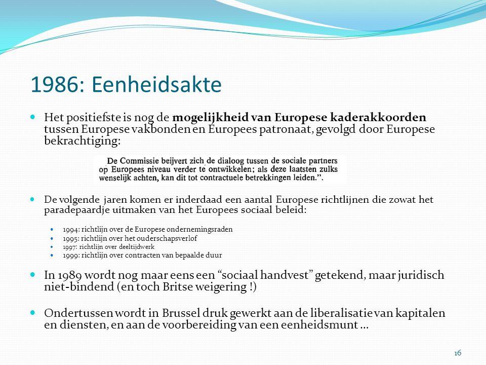 1986: Eenheidsakte Het positiefste is nog de mogelijkheid van Europese kaderakkoorden tussen Europese vakbonden en Europees patronaat, gevolgd door Eu