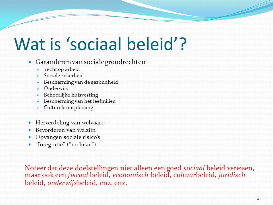 Wat is 'sociaal beleid'? Garanderen van sociale grondrechten  recht op arbeid  Sociale zekerheid  Bescherming van de gezondheid  Onderwijs  Behoo