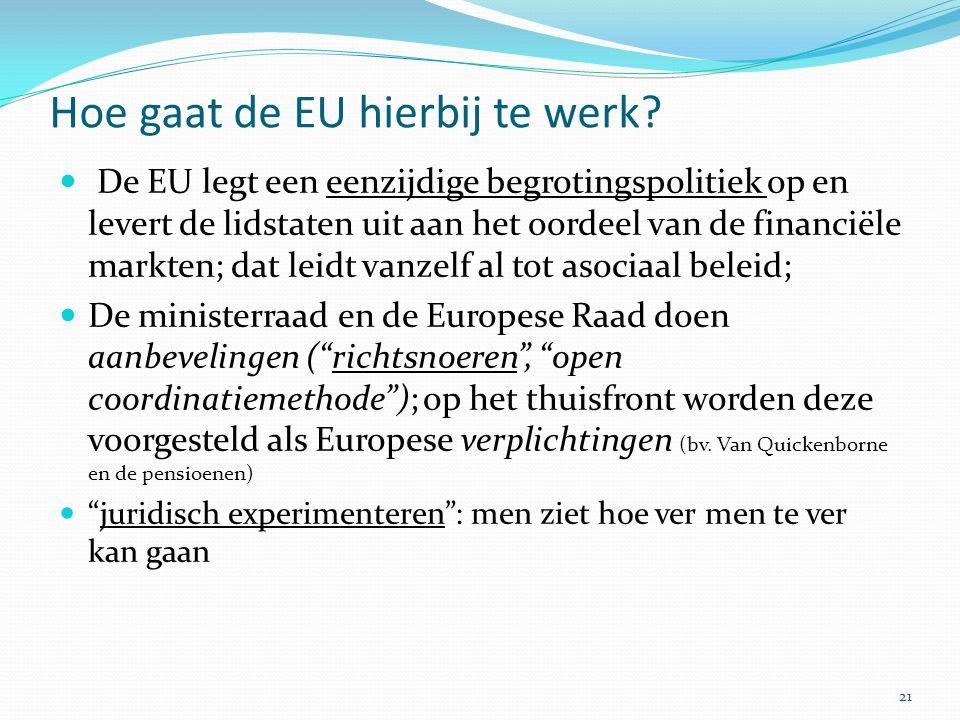 Hoe gaat de EU hierbij te werk? De EU legt een eenzijdige begrotingspolitiek op en levert de lidstaten uit aan het oordeel van de financiële markten;