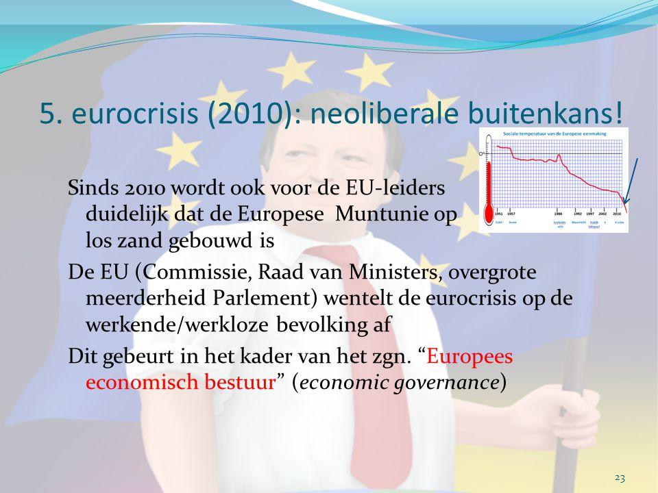 5. eurocrisis (2010): neoliberale buitenkans! Sinds 2010 wordt ook voor de EU-leiders duidelijk dat de Europese Muntunie op los zand gebouwd is De EU