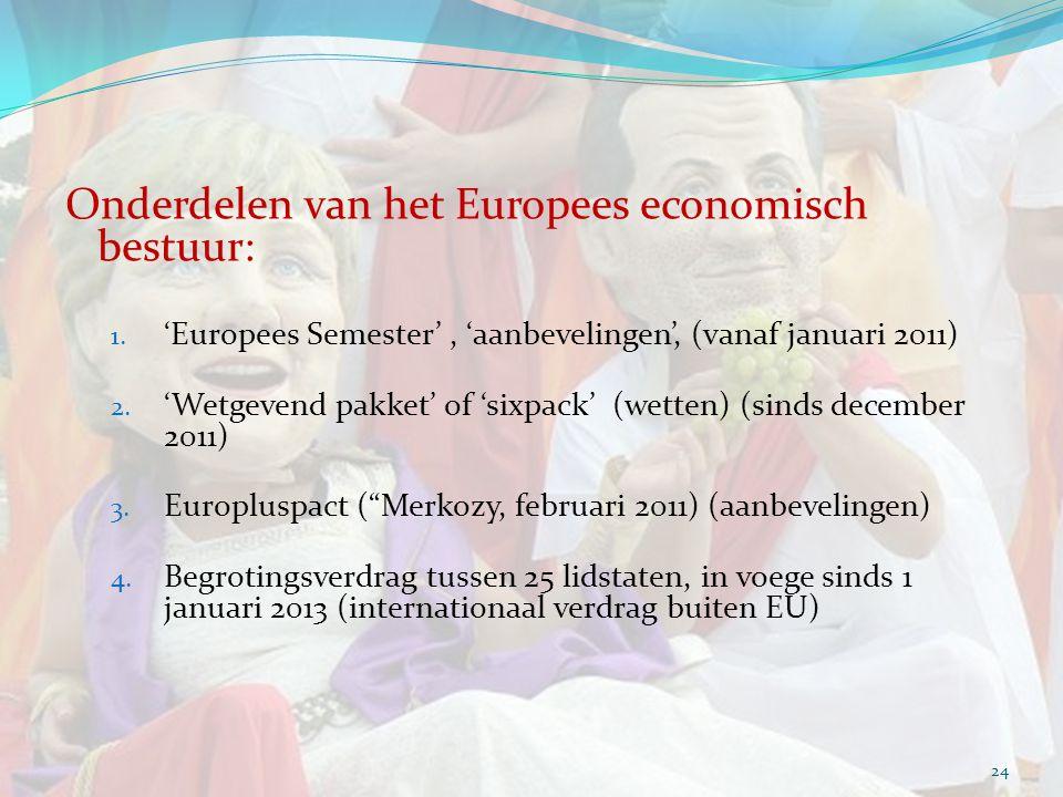 Onderdelen van het Europees economisch bestuur: 1. 'Europees Semester', 'aanbevelingen', (vanaf januari 2011) 2. 'Wetgevend pakket' of 'sixpack' (wett