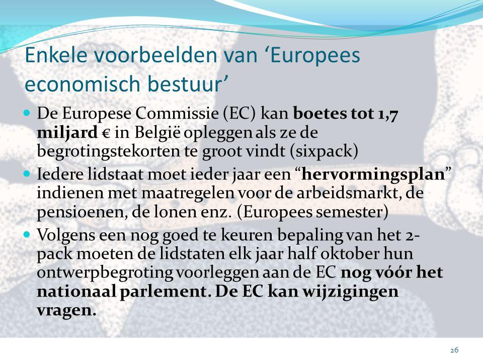 Enkele voorbeelden van 'Europees economisch bestuur' De Europese Commissie (EC) kan boetes tot 1,7 miljard € in België opleggen als ze de begrotingste