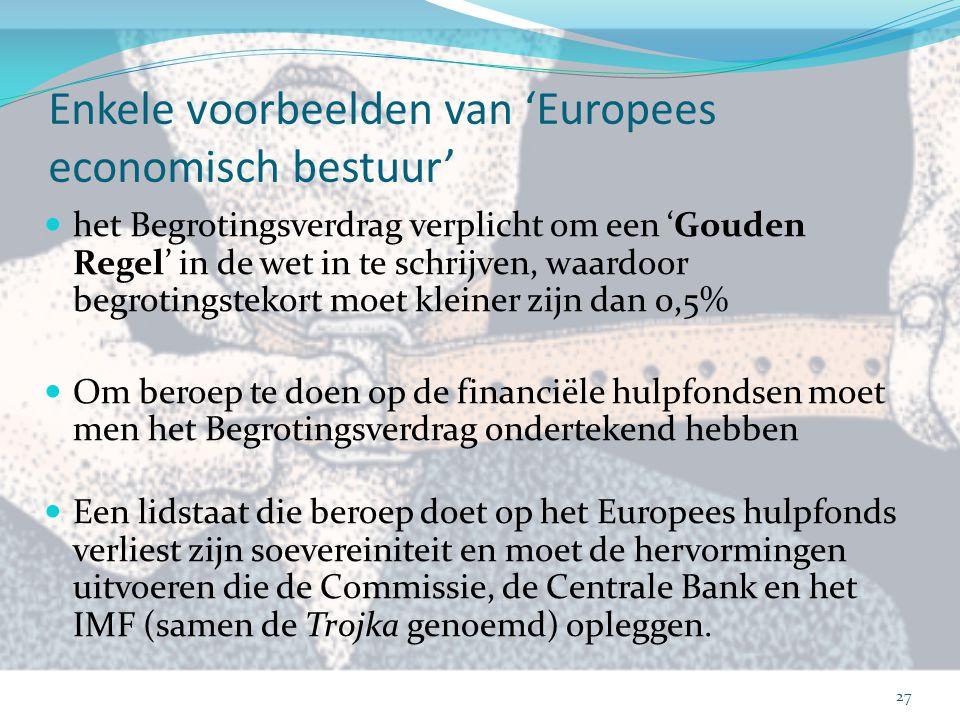 Enkele voorbeelden van 'Europees economisch bestuur' het Begrotingsverdrag verplicht om een 'Gouden Regel' in de wet in te schrijven, waardoor begroti