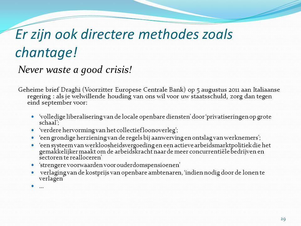 Er zijn ook directere methodes zoals chantage! Never waste a good crisis! Geheime brief Draghi (Voorzitter Europese Centrale Bank) op 5 augustus 2011