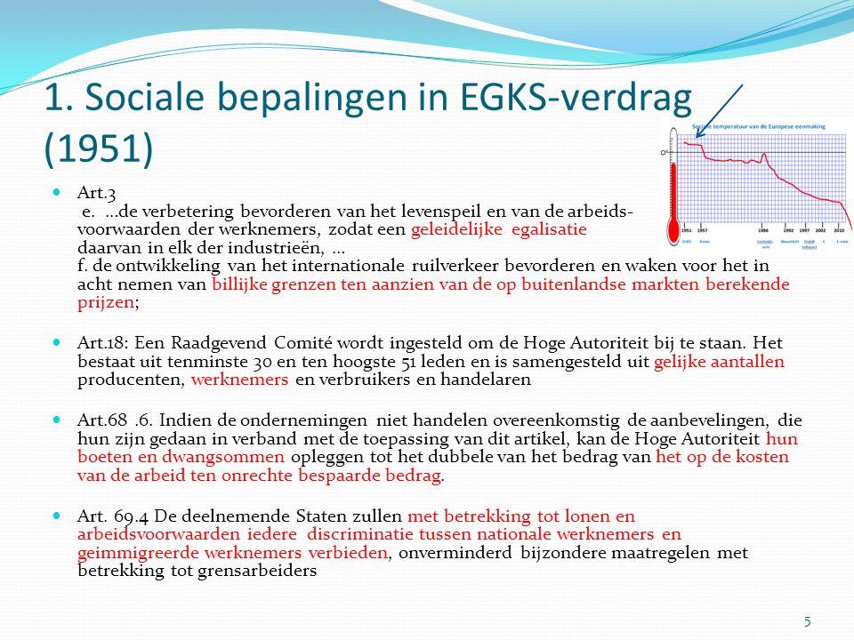 1. Sociale bepalingen in EGKS-verdrag (1951) Art.3 e. …de verbetering bevorderen van het levenspeil en van de arbeids- voorwaarden der werknemers, zod