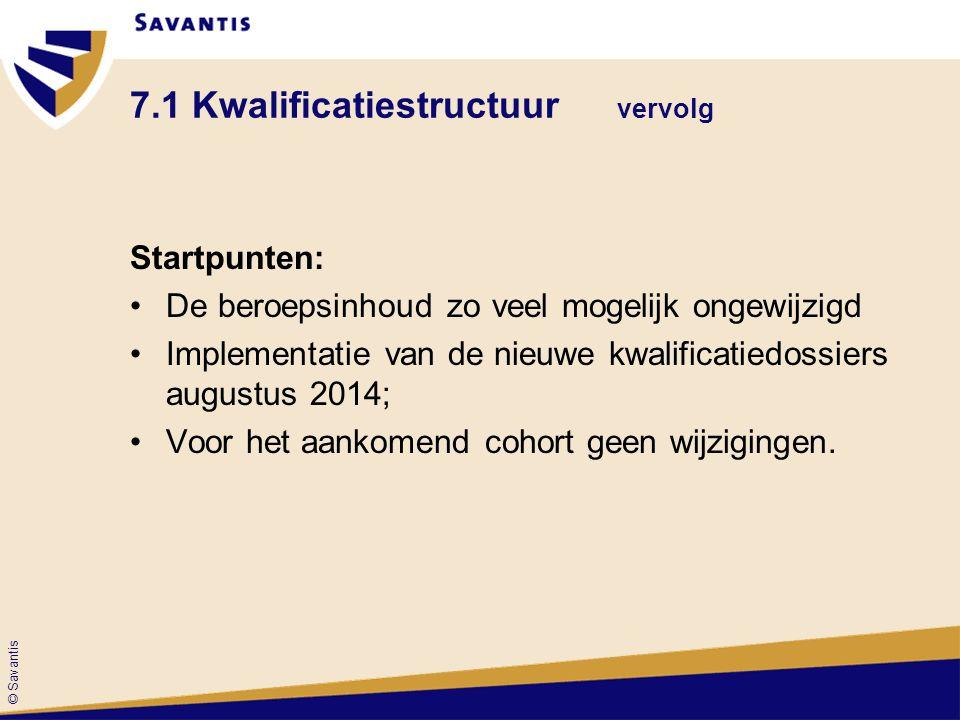 © Savantis 7.1 Kwalificatiestructuur vervolg Startpunten: De beroepsinhoud zo veel mogelijk ongewijzigd Implementatie van de nieuwe kwalificatiedossie