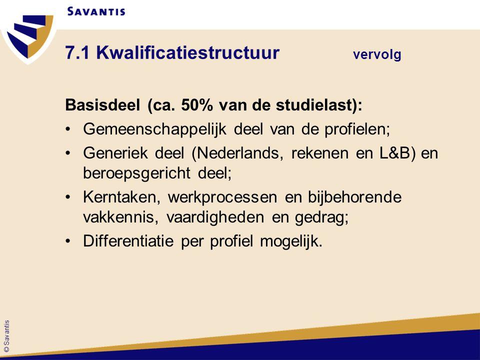 © Savantis 7.1 Kwalificatiestructuur vervolg Basisdeel (ca. 50% van de studielast): Gemeenschappelijk deel van de profielen; Generiek deel (Nederlands