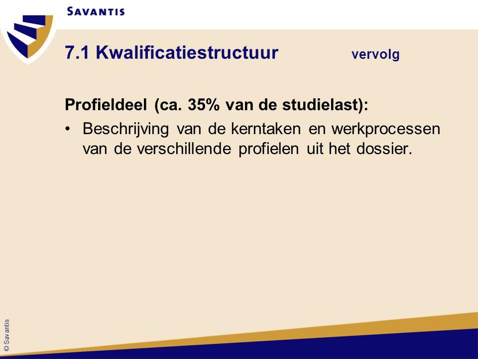 © Savantis 7.1 Kwalificatiestructuur vervolg Profieldeel (ca. 35% van de studielast): Beschrijving van de kerntaken en werkprocessen van de verschille