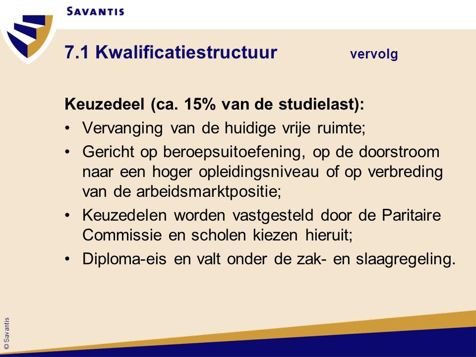 © Savantis 7.1 Kwalificatiestructuur vervolg Keuzedeel (ca. 15% van de studielast): Vervanging van de huidige vrije ruimte; Gericht op beroepsuitoefen