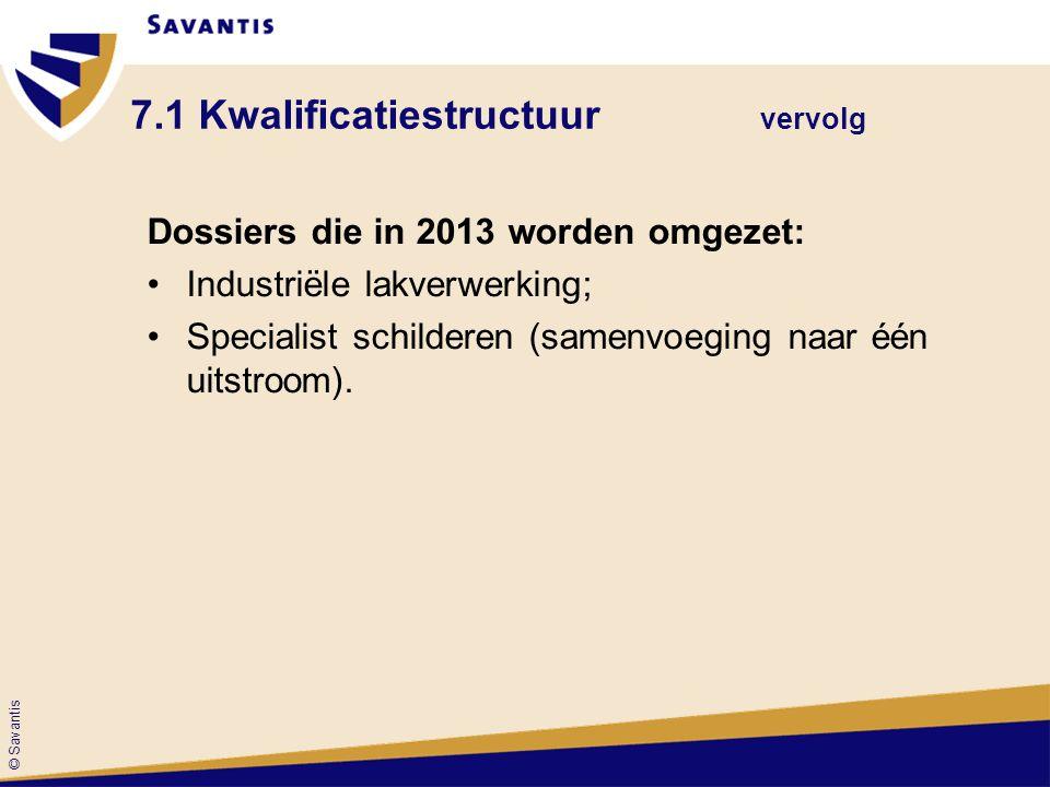 © Savantis 7.1 Kwalificatiestructuur vervolg Dossiers die in 2013 worden omgezet: Industriële lakverwerking; Specialist schilderen (samenvoeging naar