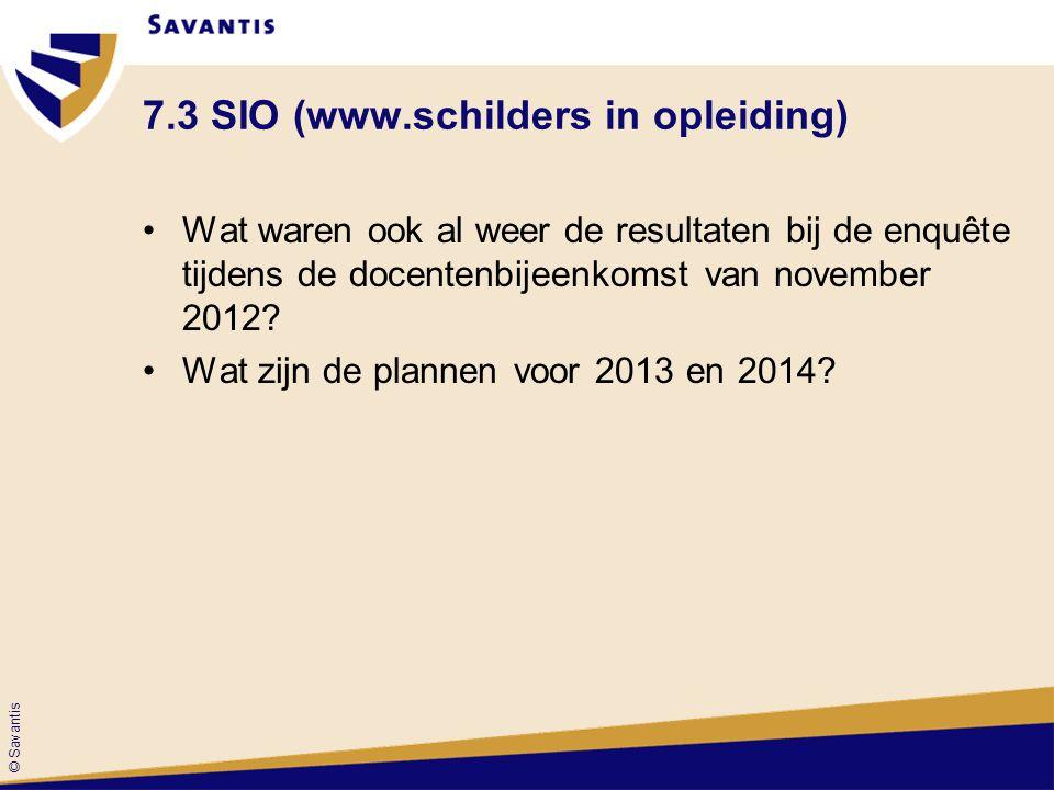 © Savantis 7.3 SIO (www.schilders in opleiding) Wat waren ook al weer de resultaten bij de enquête tijdens de docentenbijeenkomst van november 2012? W