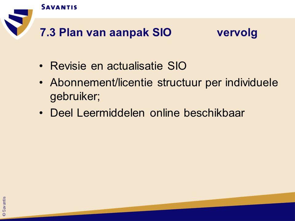 © Savantis 7.3 Plan van aanpak SIOvervolg Revisie en actualisatie SIO Abonnement/licentie structuur per individuele gebruiker; Deel Leermiddelen onlin