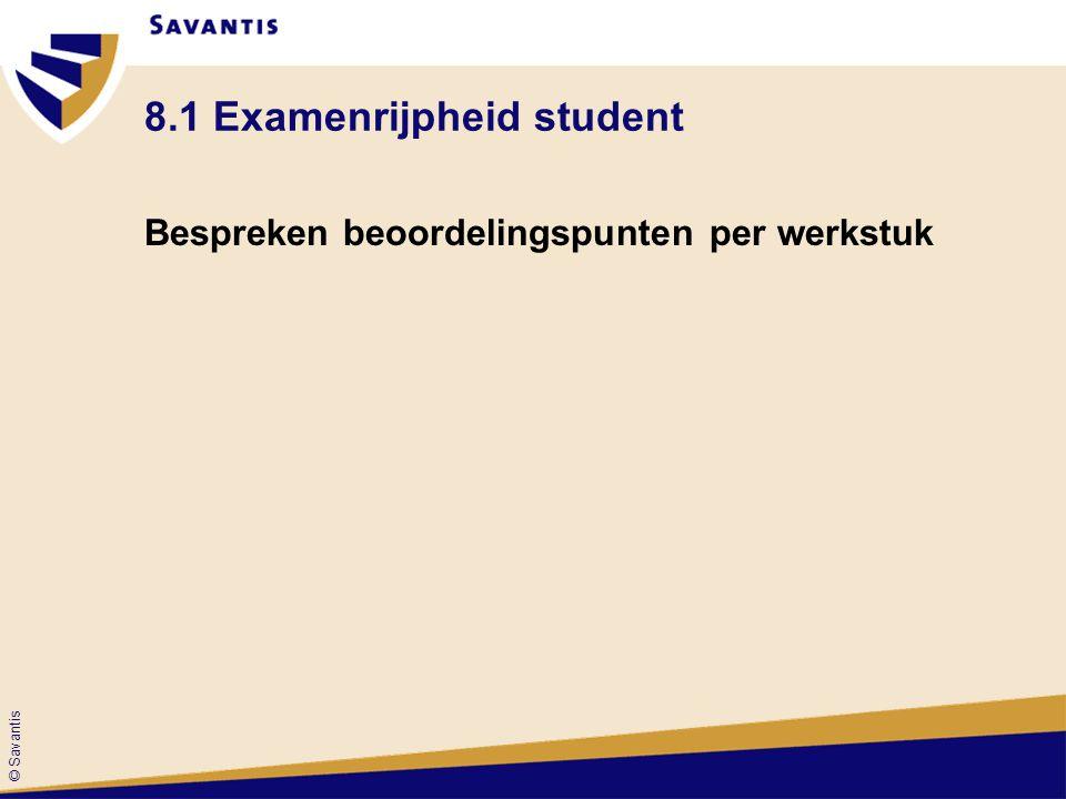 © Savantis 8.1 Examenrijpheid student Bespreken beoordelingspunten per werkstuk