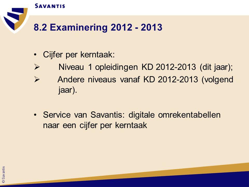 © Savantis 8.2 Examinering 2012 - 2013 Cijfer per kerntaak:  Niveau 1 opleidingen KD 2012-2013 (dit jaar);  Andere niveaus vanaf KD 2012-2013 (volge
