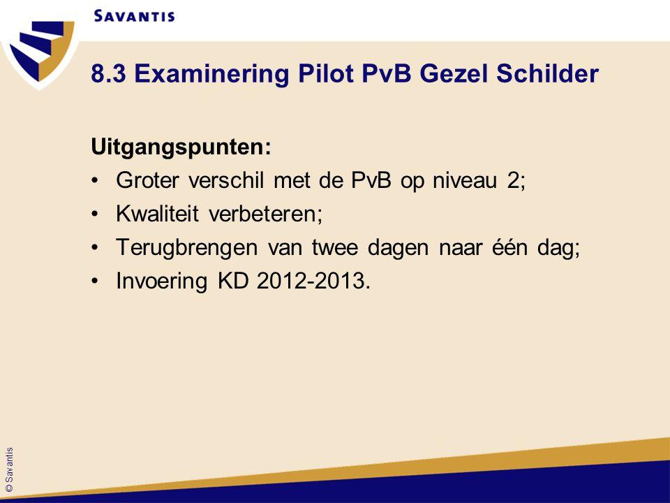 © Savantis 8.3 Examinering Pilot PvB Gezel Schilder Uitgangspunten: Groter verschil met de PvB op niveau 2; Kwaliteit verbeteren; Terugbrengen van twe