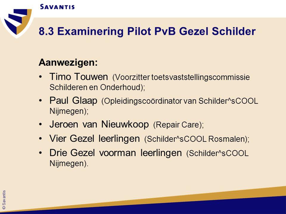 © Savantis 8.3 Examinering Pilot PvB Gezel Schilder Aanwezigen: Timo Touwen (Voorzitter toetsvaststellingscommissie Schilderen en Onderhoud); Paul Gla