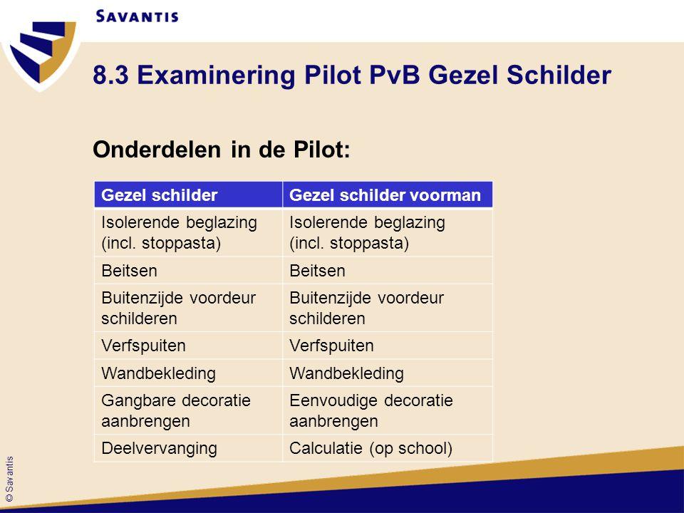 © Savantis 8.3 Examinering Pilot PvB Gezel Schilder Onderdelen in de Pilot: Gezel schilderGezel schilder voorman Isolerende beglazing (incl. stoppasta